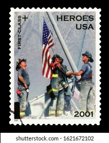 UNITED STATES OF AMERICA - CIRCA 2001 : Cancelled US Postage stamp showing an image of US Heroes, circa 2001.