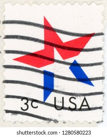 UNITED STATES OF AMERICA - CIRCA 2002: post stamp printed in USA (US) shows graphic star highlighted in red white and blue; Scott 3613 A2806 3c, circa 2002