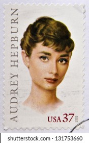 UNITED  STATES OF AMERICA - CIRCA 2003: A stamp printed in USA shows audrey hepburn, circa 2003
