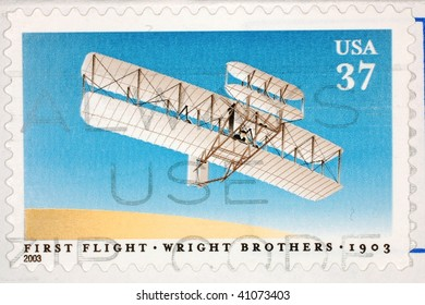 UNITED STATES OF AMERICA - CIRCA 2003: A stamp printed in the United States of America shows image celebrating the 100th anniversary of the first flight by the Wright Brothers, series, circa 2003