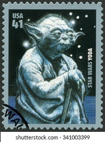 UNITED STATES OF AMERICA - CIRCA 2007: A stamp printed in USA shows portrait of Yoda, series Premiere of Movie Star Wars 30 anniversary, circa 2007