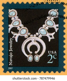 UNITED STATES OF AMERICA - CIRCA 2007: stamp printed in USA shows painted detail of Navajo silver and blue turquoise nuggets necklace with squash blossoms set; Scott 3753 2c black silver; circa 2007