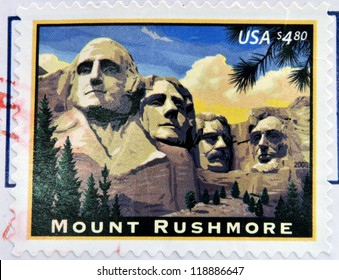 UNITED STATES OF AMERICA - CIRCA 2008: A stamp printed in USA shows image of the Mount Rushmore National Memorial, circa 2008