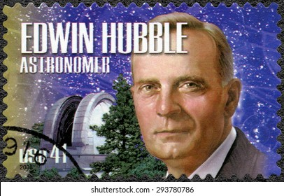 UNITED STATES OF AMERICA - CIRCA 2008: A stamp printed in USA shows portrait of Edwin Powell Hubble (1889-1953), astronomer, series American Scientists, circa 2008