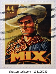 UNITED STATES OF AMERICA - CIRCA 2010: Stamp printed in USA shows silent film actor Tom Mix, circa 2010