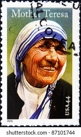 UNITED STATES OF AMERICA - CIRCA 2010: A stamp printed in USA shows mother Teresa, circa 2010