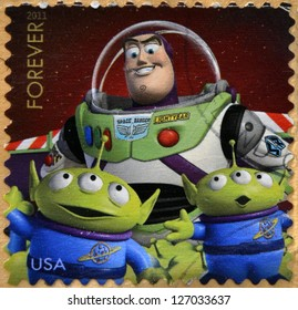 UNITED STATES OF AMERICA - CIRCA 2011: A stamp printed in USA showing an image of Toy Story 3 movie, circa 2011.