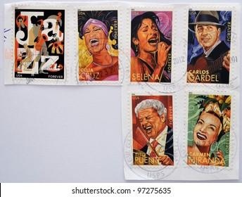 UNITED STATES OF AMERICA - CIRCA 2011: set of 6 stamps dedicated to Latin Jazz, shows Celia Cruz, Selena, Carlos Gardel, Tito Puente and Carmen Miranda, circa 2011