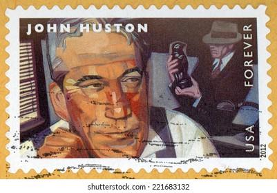 UNITED STATES OF AMERICA - CIRCA 2012: forever stamp printed in USA shows portrait of film director, screenwriter & actor John Huston (1906-1987); movie scene Maltese Falcon; Scott 4671; circa 2012