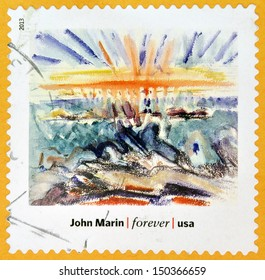 UNITED STATES OF AMERICA - CIRCA 2013: A stamp printed in USA dedicated to modern art in america shows  Sunset, Maine Coast by John Marin, circa 2013
