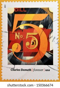 UNITED STATES OF AMERICA - CIRCA 2013: A stamp printed in USA dedicated to modern art in america shows  I Saw the Figure 5 in Gold by Charles Demuth, circa 2013