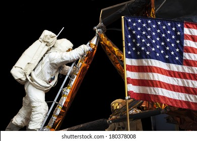 UNITED STATES OF AMERICA - CIRCA 2014: A display shows man landing on the moon, USA, circa 2014