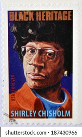 UNITED STATES OF AMERICA - CIRCA 2014: A stamp printed in USA shows Shirley Chisholm, black heritage, circa 2014