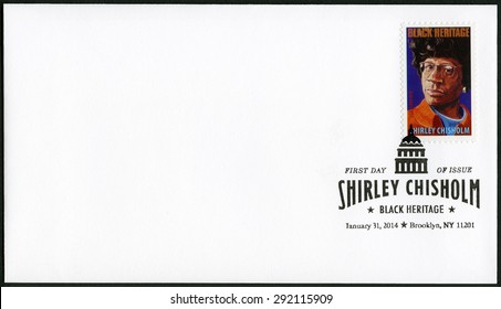 UNITED STATES OF AMERICA - CIRCA 2014: A stamp printed in USA shows Shirley Anita St. Hill Chisholm (1924-2005), American politician, series Black Heritage, Forever, circa 2014