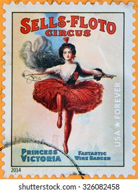 UNITED STATES OF AMERICA - CIRCA 2014: A stamp printed in USA  shows princess Victoria fantastic wire dancer; Sells-Floto circus; circus vintage posters, circa 2014