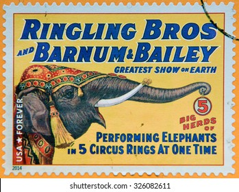 UNITED STATES OF AMERICA - CIRCA 2014: A stamp printed in USA shows big herds of performing elephants at 5 circus rings at one time; circus vintage posters; Ringling Bros, Barnum & Bailey, circa 2014