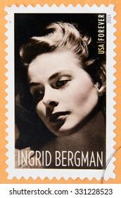 UNITED STATES OF AMERICA - CIRCA 2015: A stamp printed in USA shows  Ingrid Bergman (1915-1982), actress, circa 2015