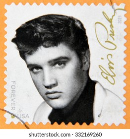 UNITED STATES Of AMERICA - CIRCA 2015: A stamp printed in USA shows Elvis Presley, circa 2015