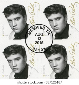 UNITED STATES Of AMERICA - CIRCA 2015: A stamp printed in USA shows Elvis Presley (1935-1977), the singer, guitarist, musician, Music Icons Series, circa 2015