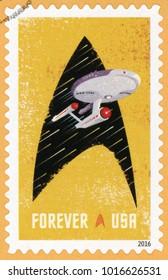 UNITED STATES OF AMERICA - CIRCA 2016: forever post stamp printed in USA (US) shows Starship Enterprise and Starfleet insignia; Star Trek series; Scott 5132 yellow, circa 2016