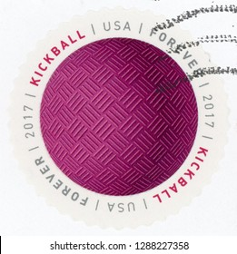 UNITED STATES OF AMERICA - CIRCA 2017: first class forever post stamp printed in US (USA) shows pink kickball; have a ball; Scott 5210; circa 2017
