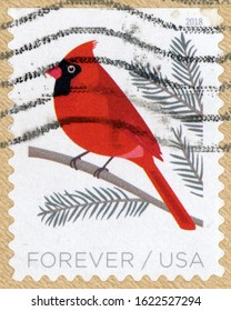 UNITED STATES OF AMERICA - CIRCA 2018: forever post stamp printed in US (USA) shows Northern Cardinal (Cardinalis cardinalis) on tree branch; birds in winter; Scott 5318; circa 2018