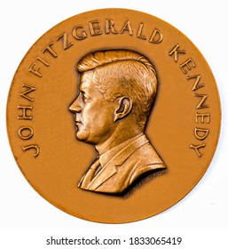 United States Of America A coin commemorating featuring a portrait of President John F. Kennedy, The the 35th President, 1961