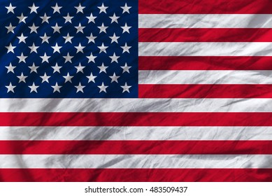 United States of America crumpled flag, patriotism and national pride