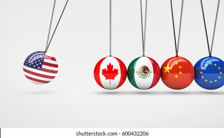 United States of America economy impact on world global market concept 3D illustration.