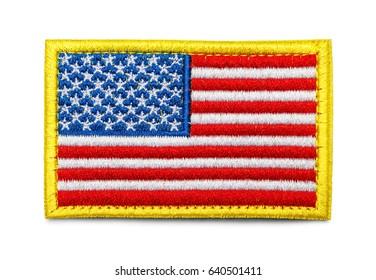 United States of America Fabric Uniform Flag Patch Isolated on White Background.