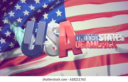 united states of america. flag of the united states. 3d rendering