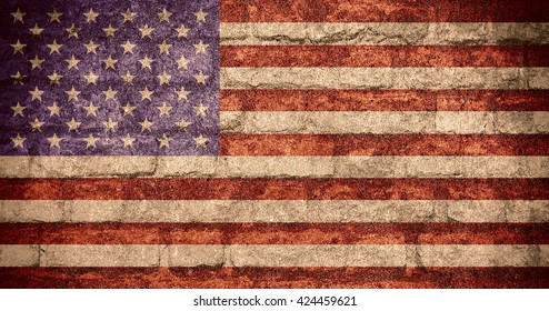 United States of America flag or American banner on brick texture, USA