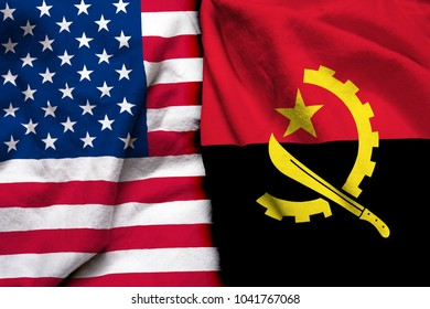United States of America flag and Angola flag together