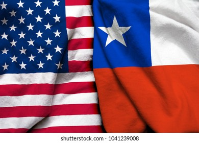 United States of America flag and Chile flag together