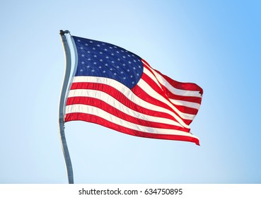 United states of america flag, curved stick,