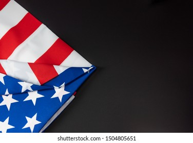 United States of America flag in dark background with copy space for text