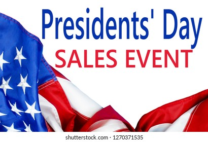 A United States of America flag draped as a border with a white background and Presidents' Day message for a sales event