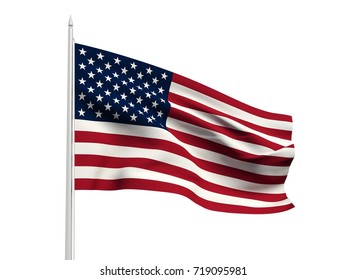 United States of America flag floating in the wind with a White sky background. 3D illustration.