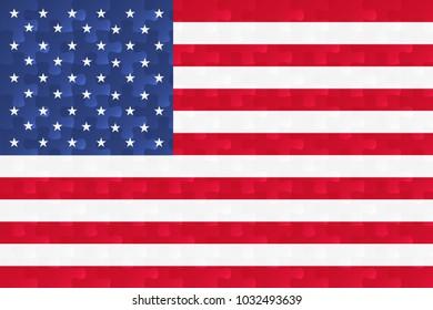 United States of America flag jigsaw puzzles illustration.