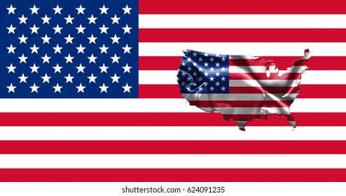 United States of America Flag With Map of Country 3D illustration