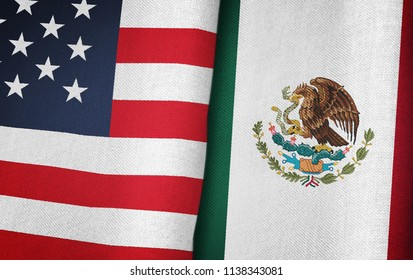 United States of America flag and Mexico flag together