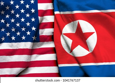 United States of America flag and North Korea flag together