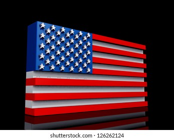 United States of America Flag on a shiny black background.