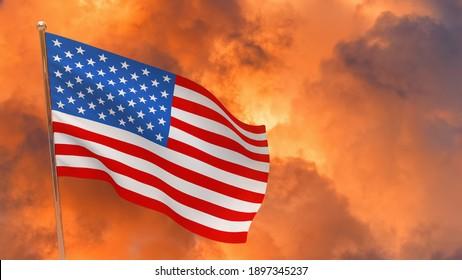 United States of America flag on pole. Dramatic background. National flag of United States of America