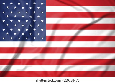 United States of America flag on soft and smooth silk texture