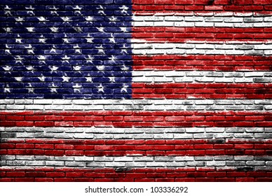 united states of america flag painted on old brick wall texture background