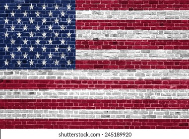 United states of america flag painted on old brick wall texture