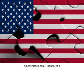 United States of America FLAG PAINTED ON PUZZLE