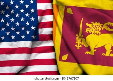 United States of America flag and Sri Lanka flag together