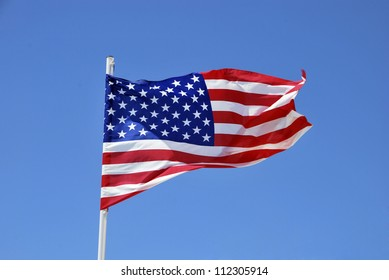 United states of America flag waving on the wind